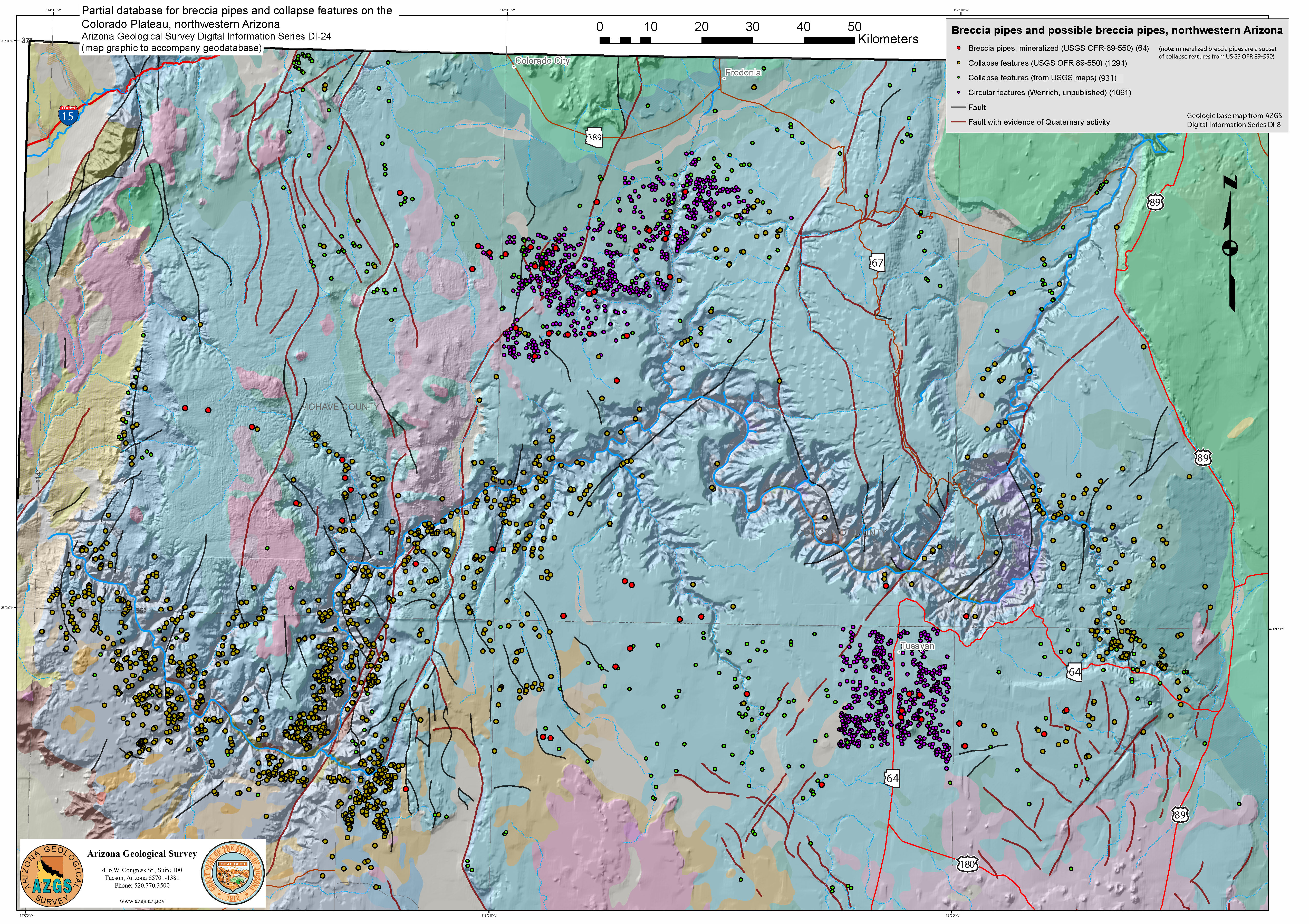 Partial Database For Breccia Pipes And Collapse Features On The - Map of colorado plateau region